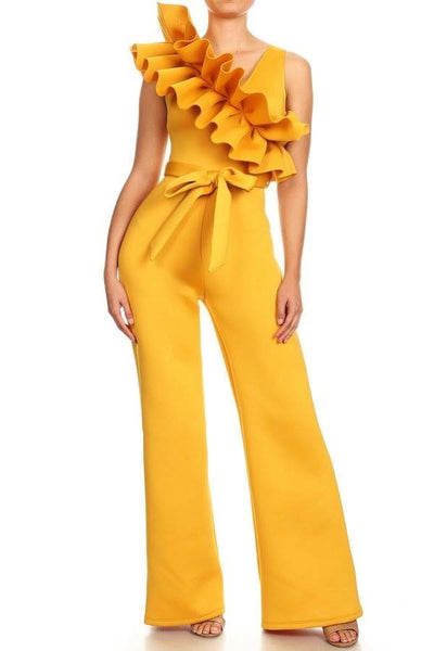 OVER INDULGE RUFFLE JUMPSUIT - MUSTARD