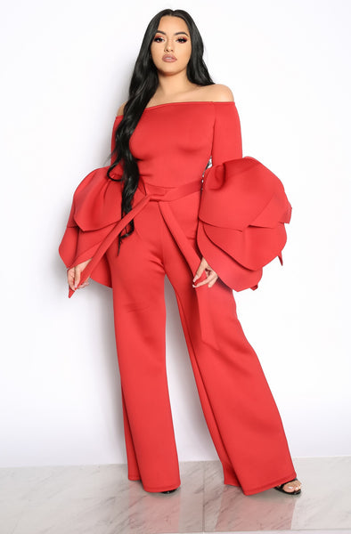 LEADING ROLE OFF THE SHOULDER JUMPSUIT - RED