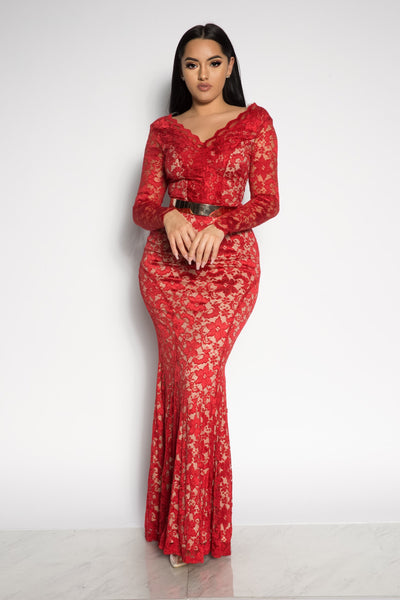 LACE GODDESS NUDE ILLUSION DRESS - RED