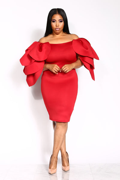 THE INFLUENCER PLUS DRESS - RED