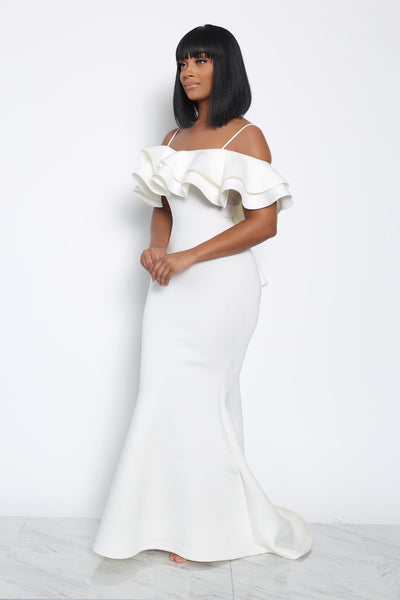 I DO RUFFLE DRESS - WHITE