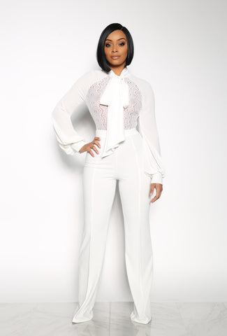 MAJOR LOOKS JUMPSUIT - WHITE