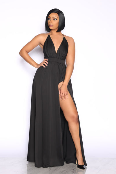 LET IT FLOW MAXI DRESS - BLACK