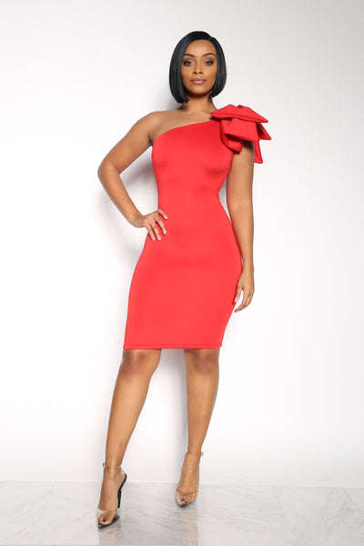 CUTTING UP ONE SHOULDER DRESS - RED