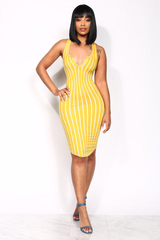 SNAPBACK STRIPE COZY DRESS - WHITE/MUSTARD