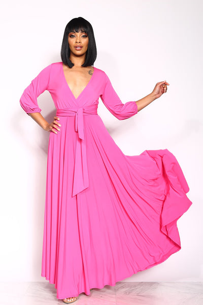 LOVE QUOTE WRAP MAXI DRESS - PINK