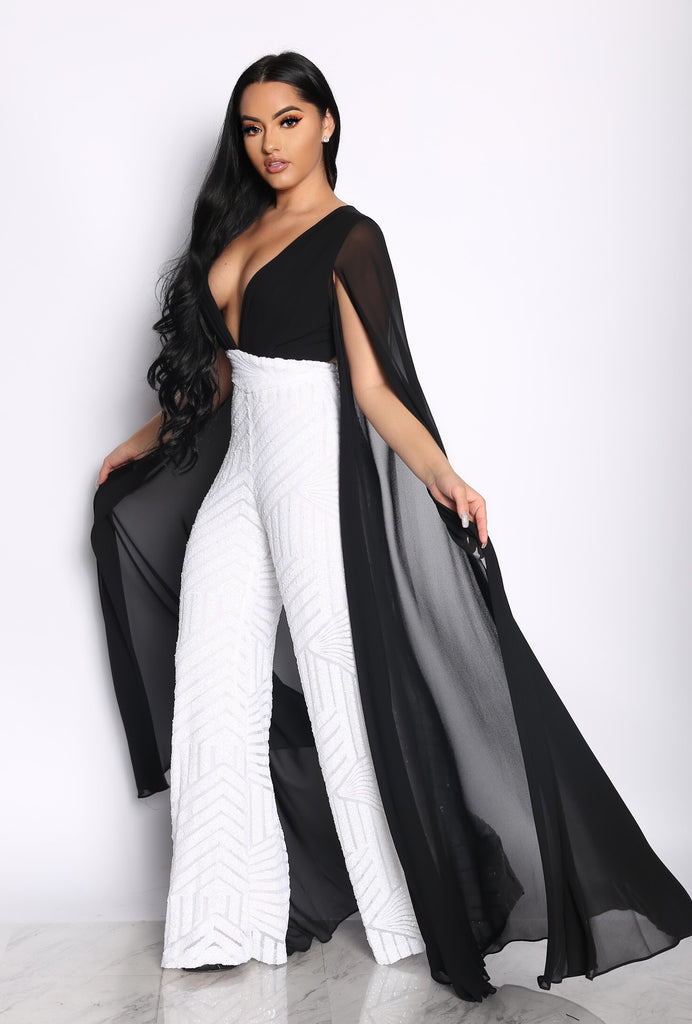 a2e27ba1168 SLAY THE RUNWAY SEQUIN JUMPSUIT - BLACK WHITE (CUSTOM) – Intertwine  Collection