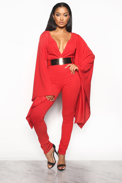SLEEK & CHIC JUMPSUIT - RED