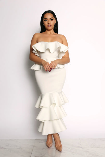 HIGH CLASS QUEEN RUFFLE DRESS - IVORY