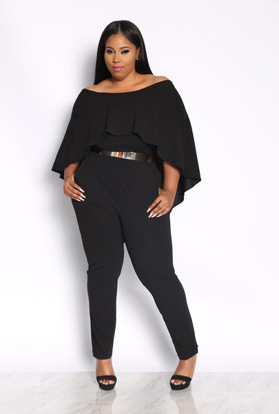 FARRAH CAPE JUMPSUIT - BLACK