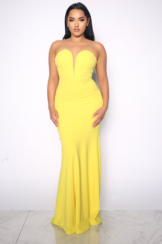 HOUR GLASS WIRED YELLOW GOWN DRESS