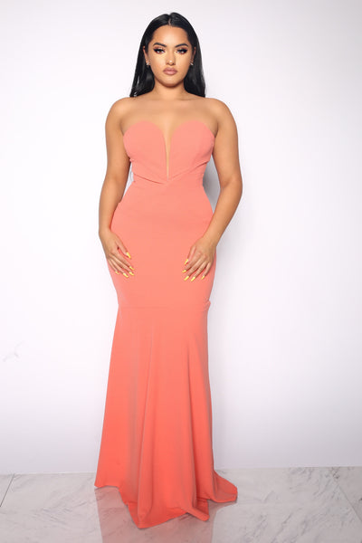 HOUR GLASS WIRED PEACH GOWN DRESS