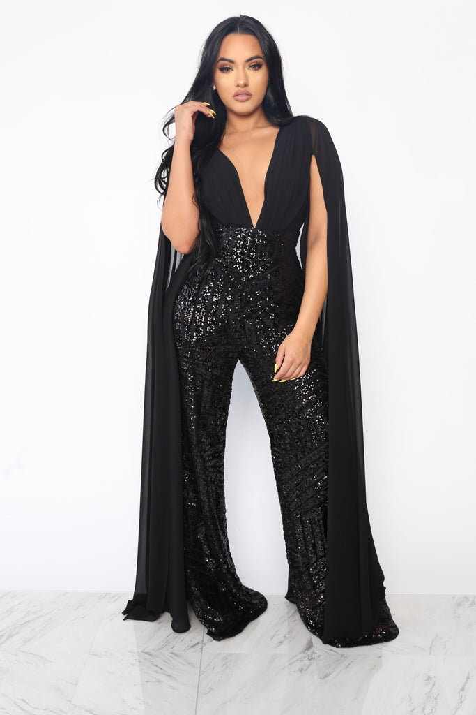 3c0eabde1ea SLAY THE RUNWAY SEQUIN JUMPSUIT - BLACK (CUSTOM) – Intertwine Collection