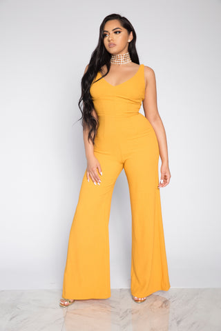CHASING SUNSET JUMPSUIT - MUSTARD