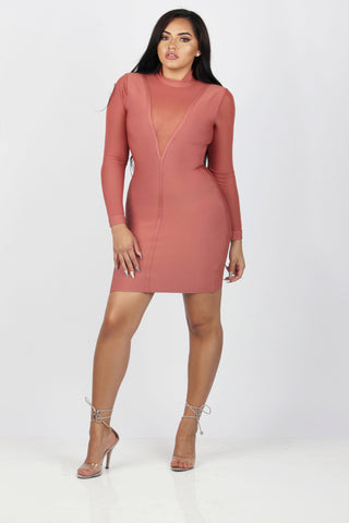 ATTRACTION MESH BANDAGE DRESS