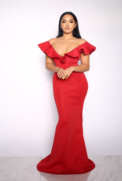 LEGENDARY LOVE RUFFLE DRESS - RED