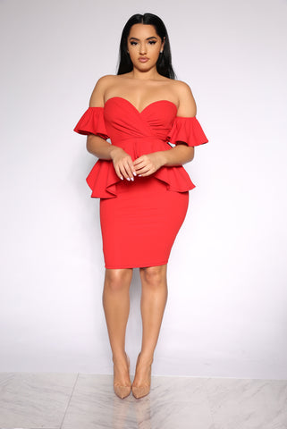 TOP OF THE GAME RUFFLE DRESS - RED