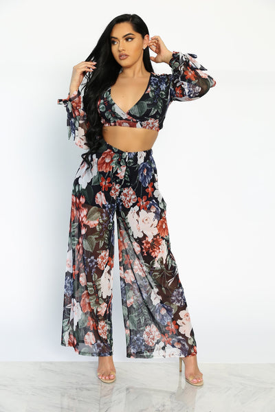 SUMMER IN CALI TWO PIECE SET - FLORAL (BLACK)
