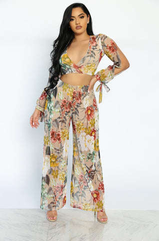 SUMMER IN CALI TWO PIECE SET - FLORAL (CREAM)
