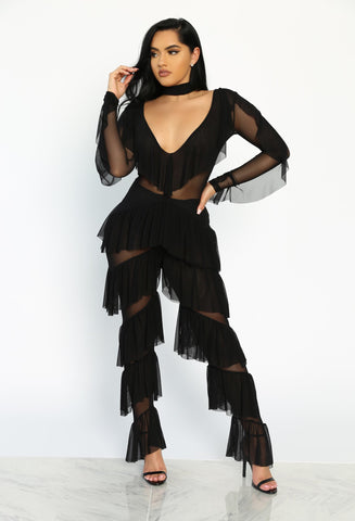 NIGHTLY SLAY MESH RUFFLE JUMPSUIT