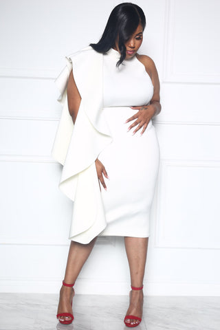 A STATEMENT PLUS DRESS - WHITE