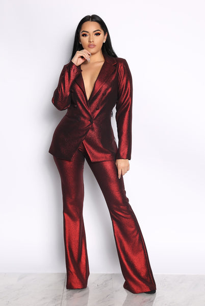 THE PRESIDENTIAL METALLIC TWO PIECE SUIT- RED