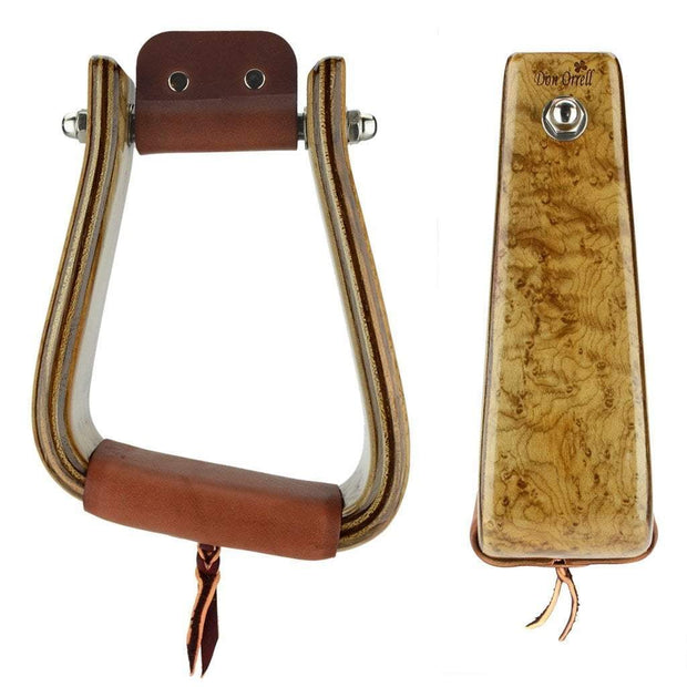 Don Orrell Stirrups Angled Roper Stirrup Premier - Birds Eye Maple / 3 inch