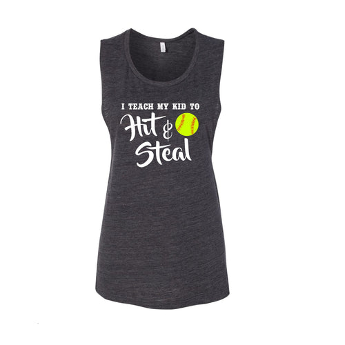 I Teach My Kid To Hit & Steal - Softball (Size Small Available)