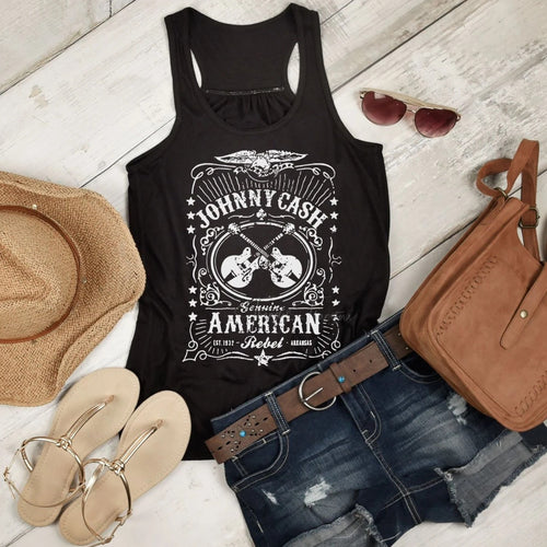 Johnny Cash - Ladies Flowy Racerback Tank