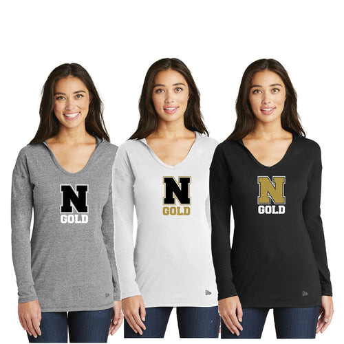 Ladies Tri-Blend Performance Pullover Hoodie Tee - Nebraska Gold