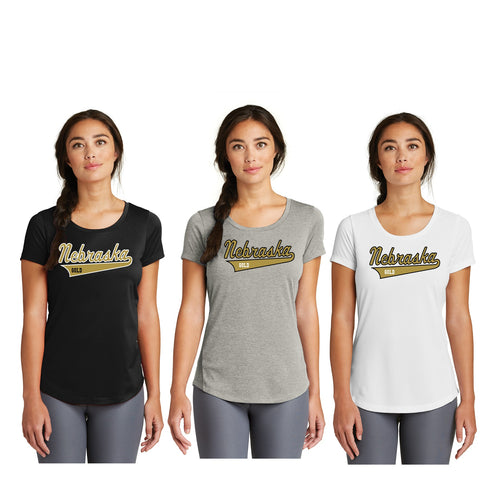 Ladies Series Performance Scoop Tee - Nebraska Gold