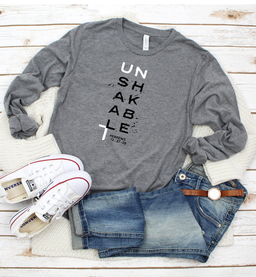 NEW 2020 SCH0OOL THEME VERSE TEES!!! Unshakable - ADULT Unisex Long Sleeve Tee (You pick the color tee)