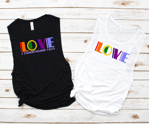 "Love - Ladies Flowy Muscle Tank (with or  (Printed with or without ""1 Corinthians 3:13"")"
