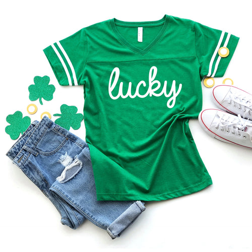 Lucky - Ladies Vneck Jersey Tee