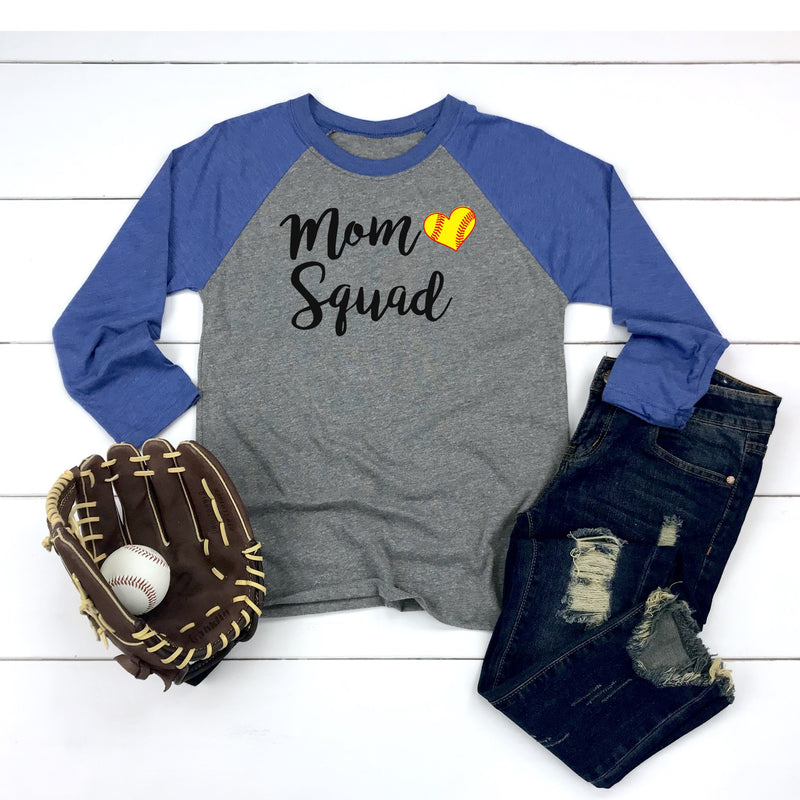 Mom Squad (Softball) - Unisex Baseball Raglan Tee (Size S Available)