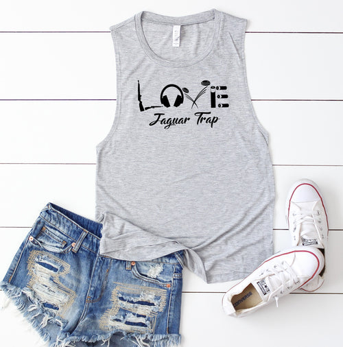 Ladies Flowy Muscle Tank - Love - Centennial Trap (Available in Grey & Black)