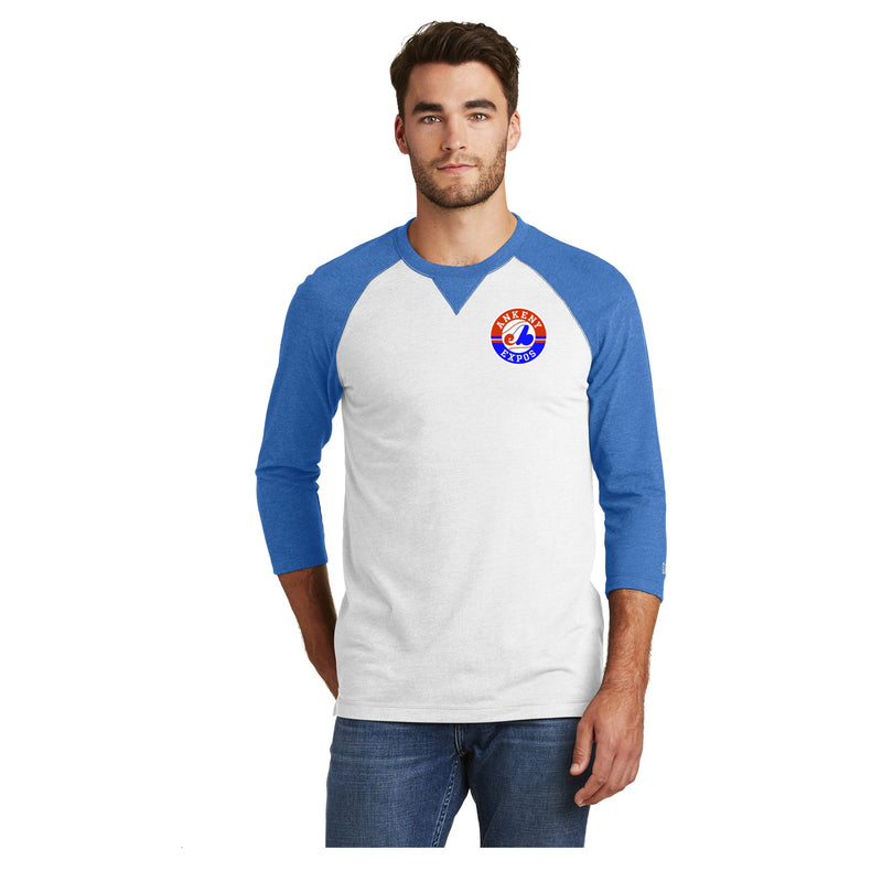 Adult -  Sueded Cotton Blend 3/4-Sleeve Baseball Raglan Tee - Expos