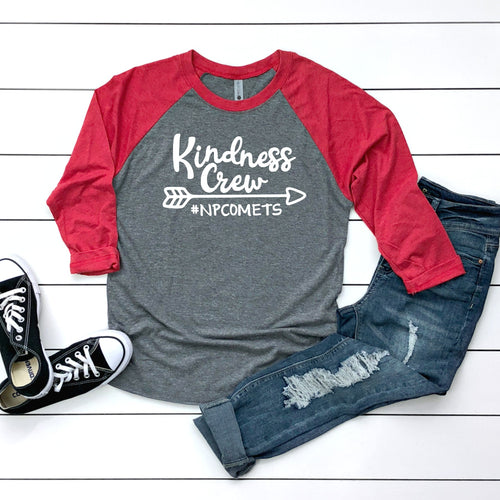 Unisex Tri-Blend Three-Quarter Sleeve Baseball Raglan Tee - Kindness Crew