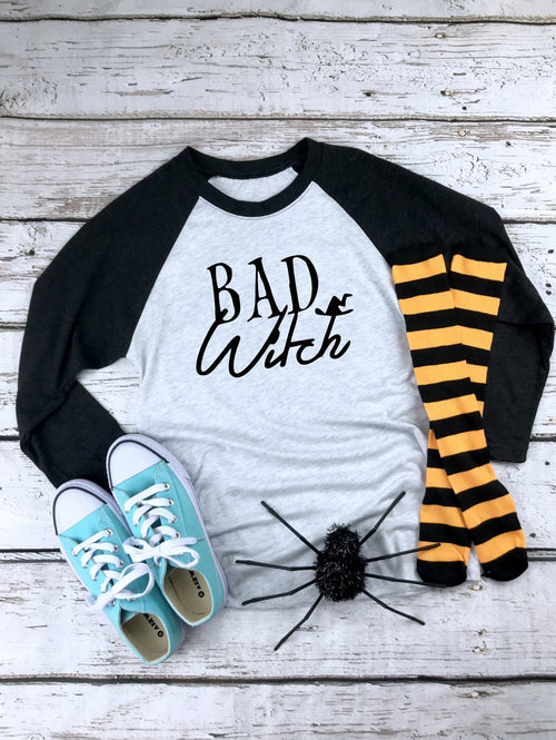 Bad Witch - Unisex Tri-Blend Three-Quarter Sleeve Baseball Raglan Tee
