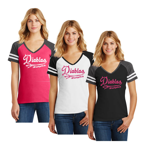 Adult - Ladies Game V-Neck Tee - Diablas