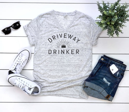 Driveway Drinker - Unisex Triblend Vneck Tee (You pick the color vneck)