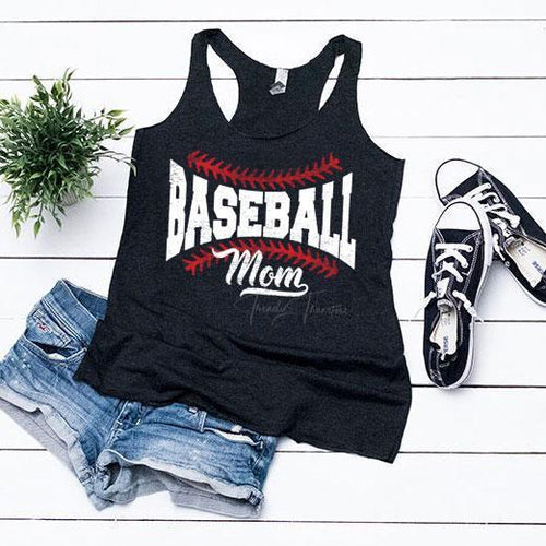 Baseball Mom - Ladies Racerbck Tank