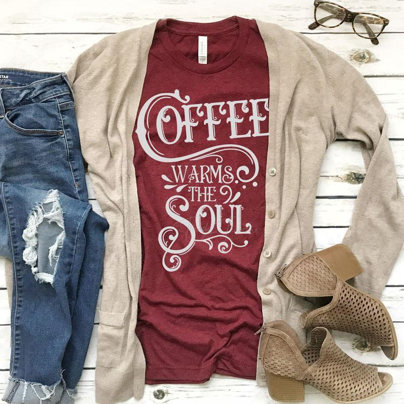 Coffee Warms the Soul -  Unisex Triblend Tee (2 Color Choices)