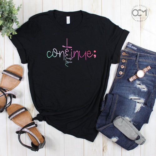 Continue Semicolon - Unisex Triblend Tee (Size 3XL Available)