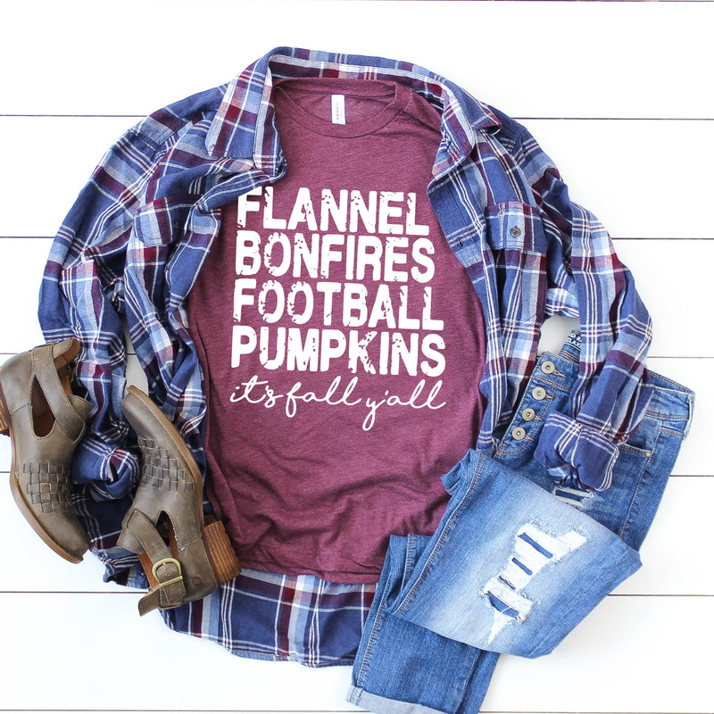 Flannels Bonfires Footballs Pumpkins - Unisex Triblend Tee (4 Color Options)