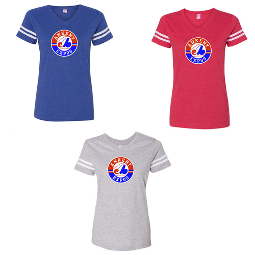 Adult  - Ladies V-Neck Fine Jersey Tee - Ankeny Expos