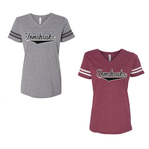 Adult  - Ladies V-Neck Fine Jersey Tee - Tomahawks