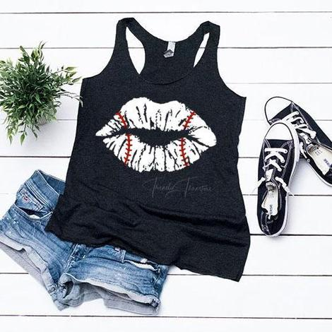 Baseball Lips - Ladies Racerback Tank