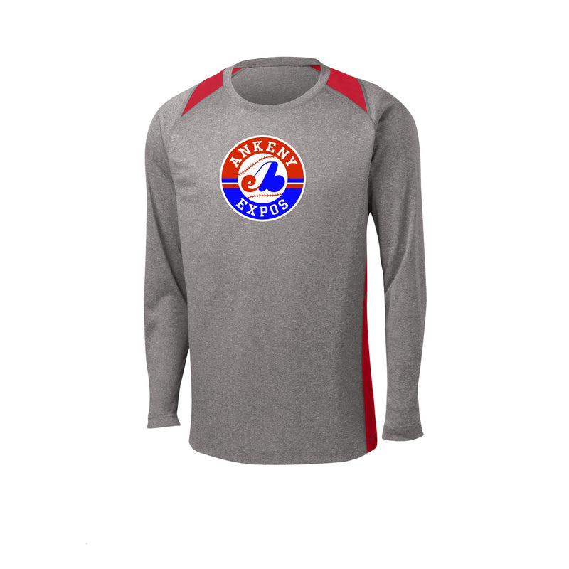 Adult -  Long Sleeve Heather Colorblock Contender™ Performance Tee - Ankeny Expos