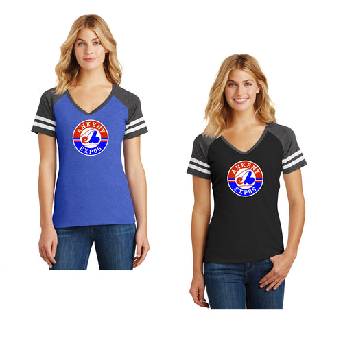 Adult - Ladies Game Day Vneck Tee - Ankeny Expos